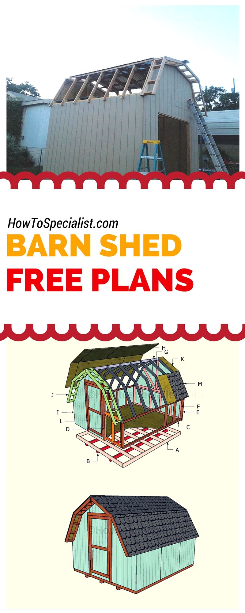 10x12 Barn Shed Plans Howtospecialist How To Build Step By Step Diy Plans Barns Sheds Shed Plans Diy Shed Plans