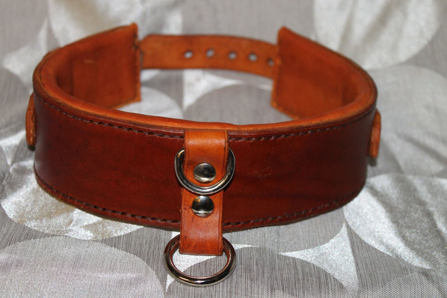 brown BDSM/Bondage Collar. by Sinnovationinleather on Etsy