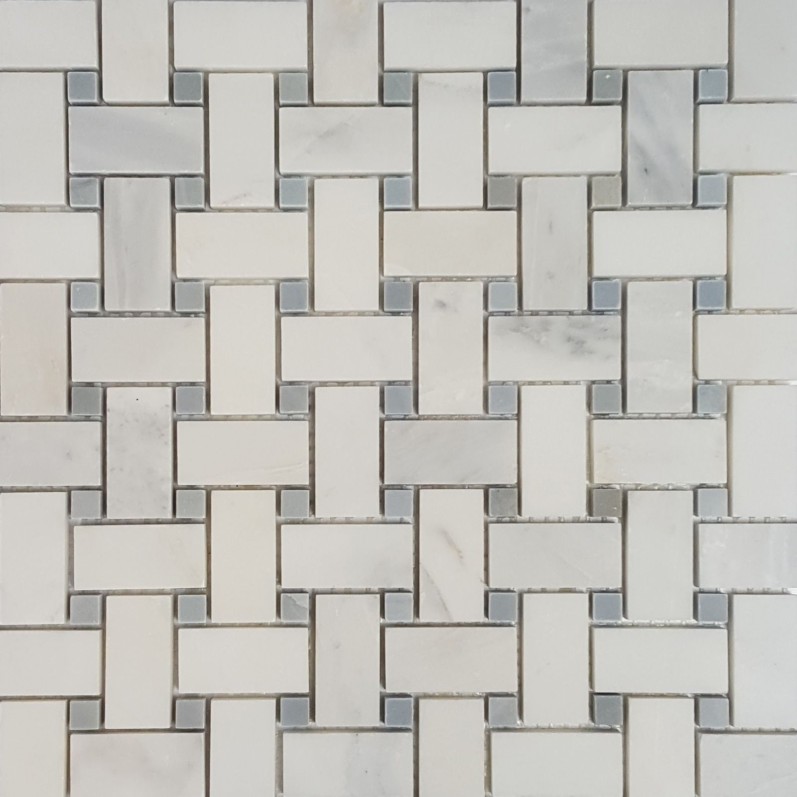 Basketweave Mosaic Tile Asian Carrara Grey Marble Polished