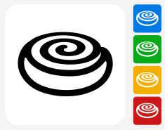 Cinnamon Bun Icon Flat Graphic Design Vector Art Illustration