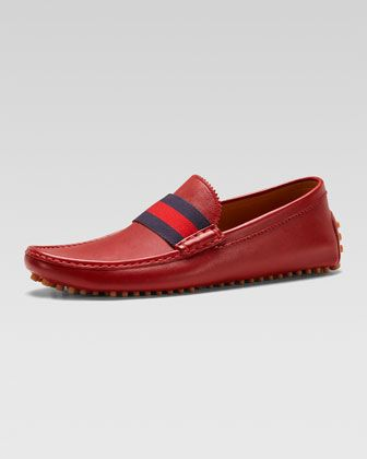 Gucci New Auger Web Driver, Red | Mens