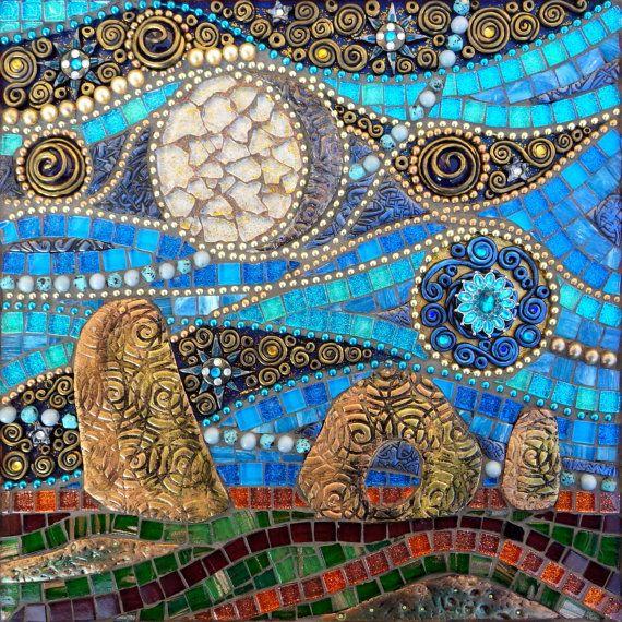 Mixed media mosaic wall art, polymer clay and glass mosaic, Men-an ...