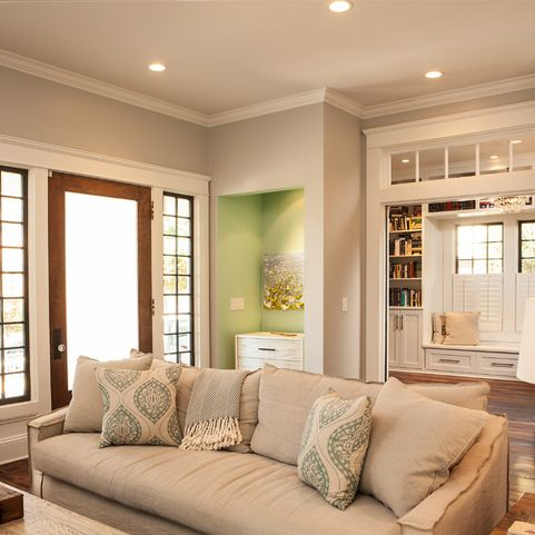 Semi Gloss Pure White Trim Passive Eggshell Wall Craftsman Living Rooms Living Room Designs Home