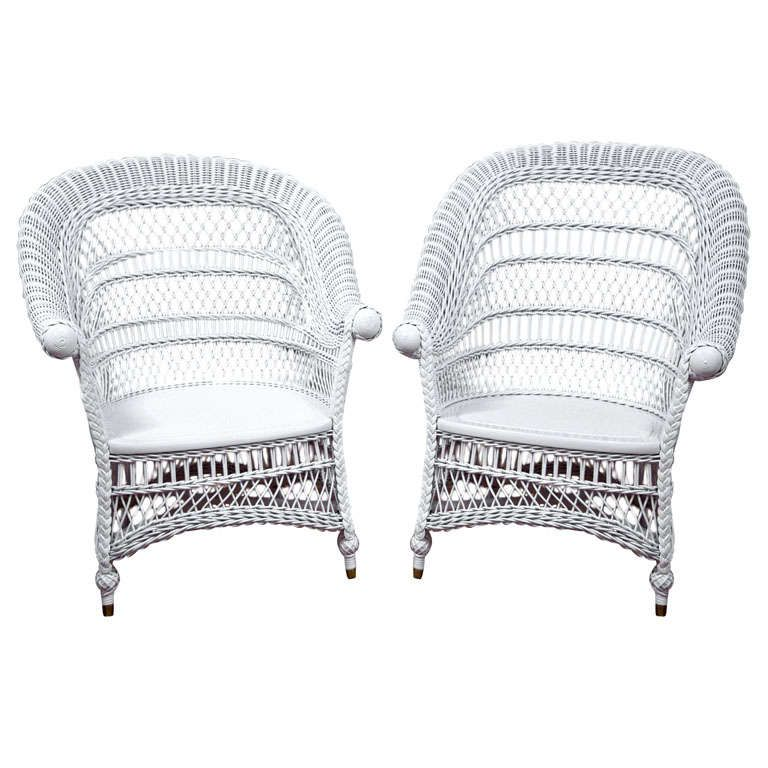 Antique Victorian Wicker Rolled Arm Chairs Victorian Wicker Rolled Arm Chair Wicker White wicker chairs for sale