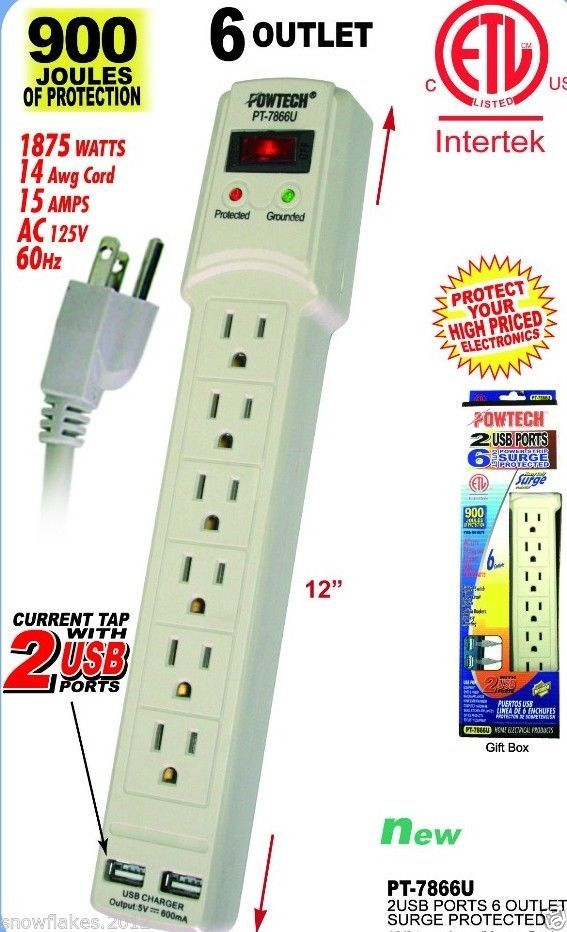 6 Outlet Power Strip Surge Protector W 2 Usb Ports 900 Joules 3 Ft Cord Powtech With Images Ebay Usb Power Strip