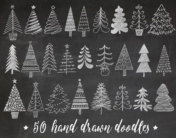 Chalkboard Christmas Tree Clip Art. Hand Drawn Chalk Christmas