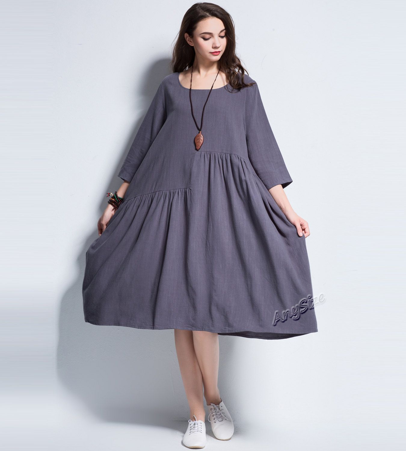 9d1a4a69f3 Anysize Spring Summer soft linen cotton A-line dress plus size dress ...