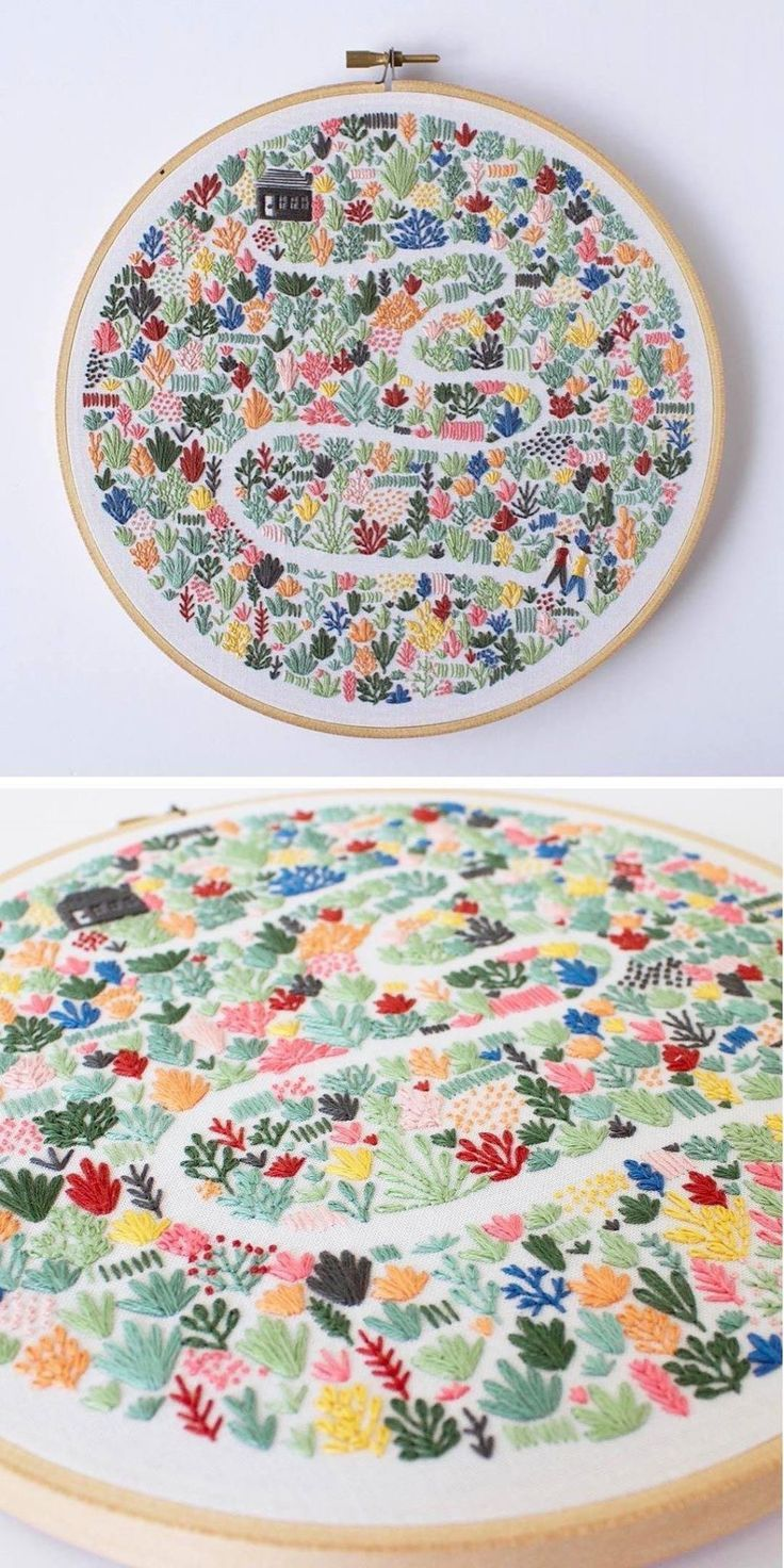 Photo of Handmade embroidery house with flower garden path design idea #flower garden path #design …