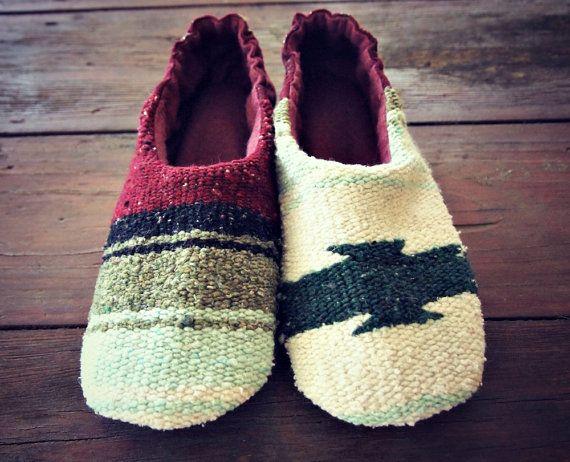 mexican blanket slippers felt slippers womens soft shoes boho house ... e6c2efa0a3