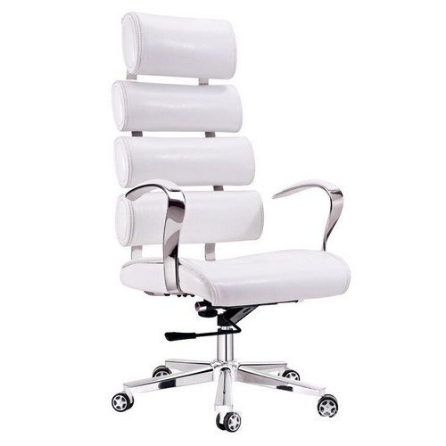 Adjule Modern White Leather Office Chair Executive Swivel Lift With Aluminum Five Star Base