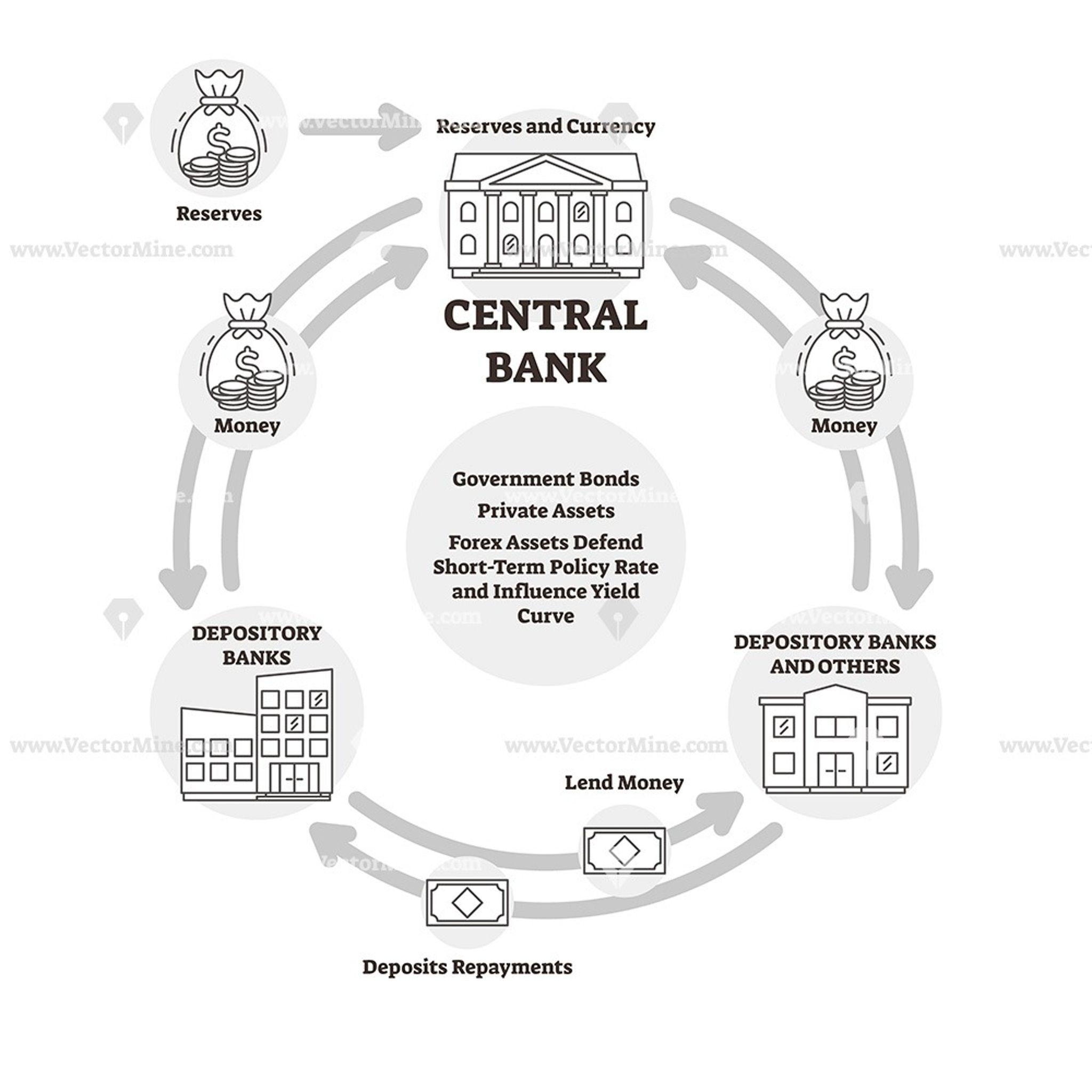 Central Bank Outline Vector Illustration Icons Diagram