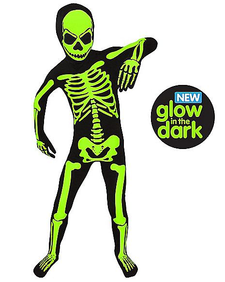 Halloween Skeleton Costume Kids.Kids Glow In The Dark Skeleton Morphsuit Costume