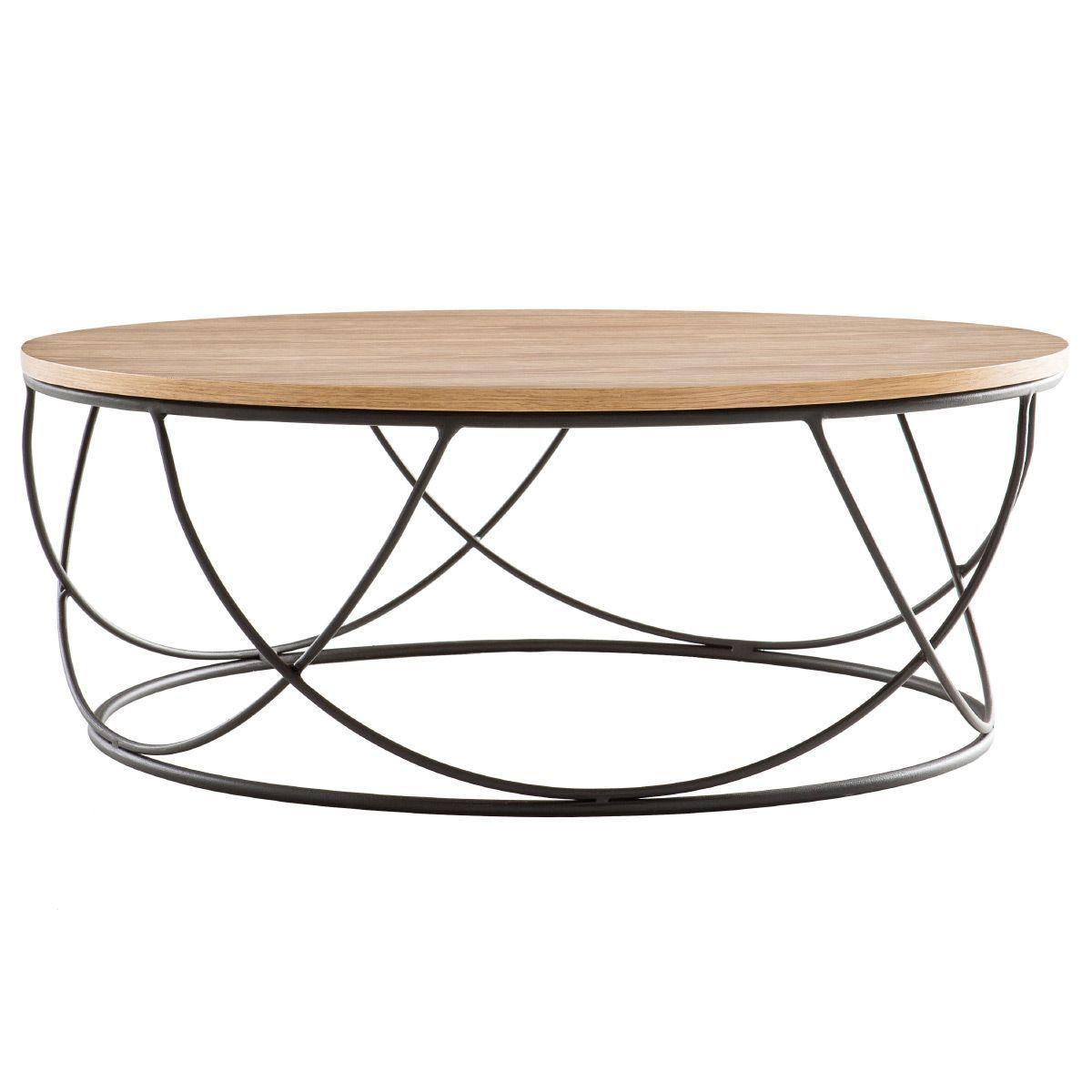 Table Basse Bois Et Metal Noir Ronde 80 Cm Lace Taille S