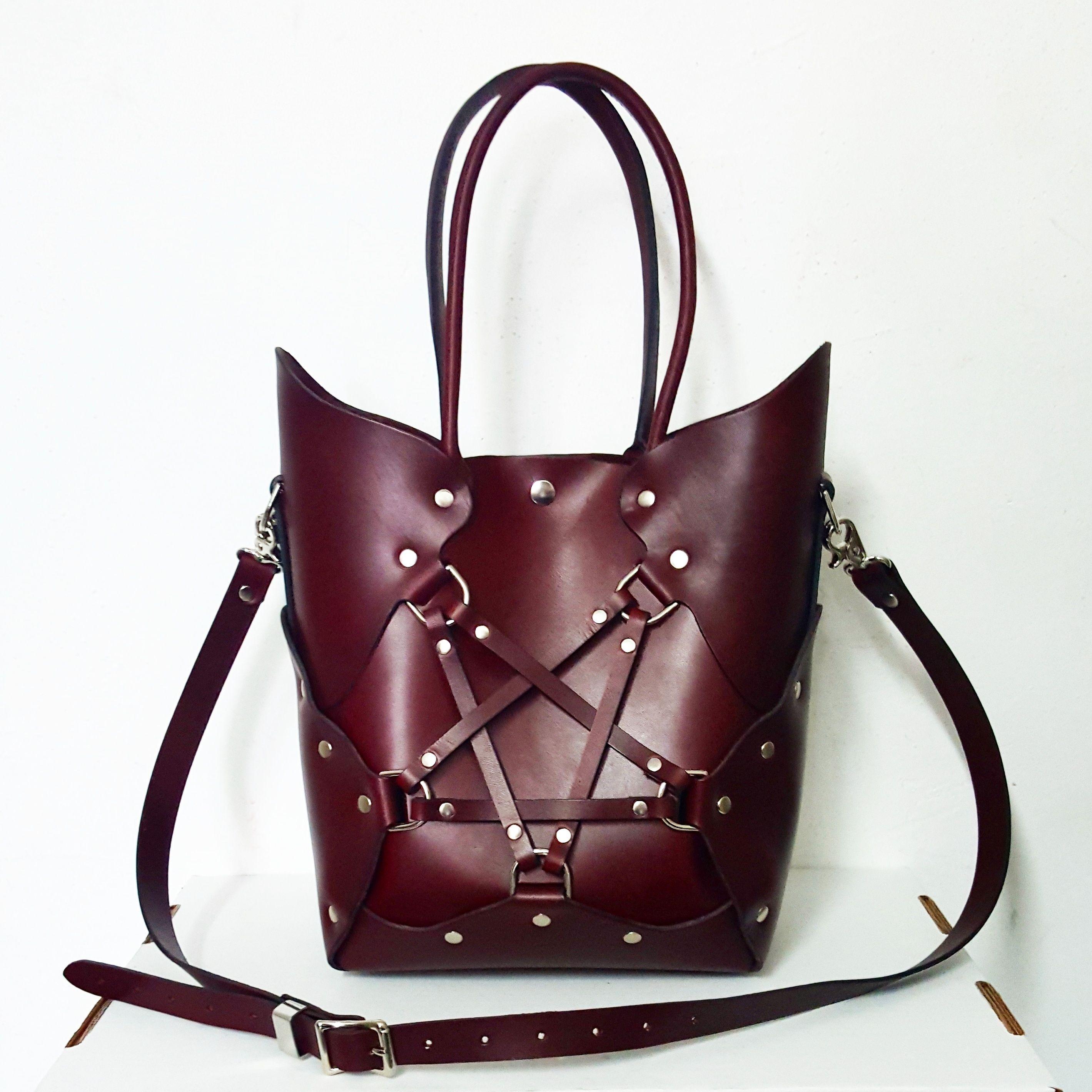 The Zana Bayne Pentagram Bag In Oxblood Leather