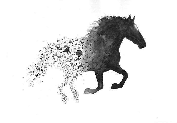 Horse art print black and white art wall art home decor large minimal watercolor print