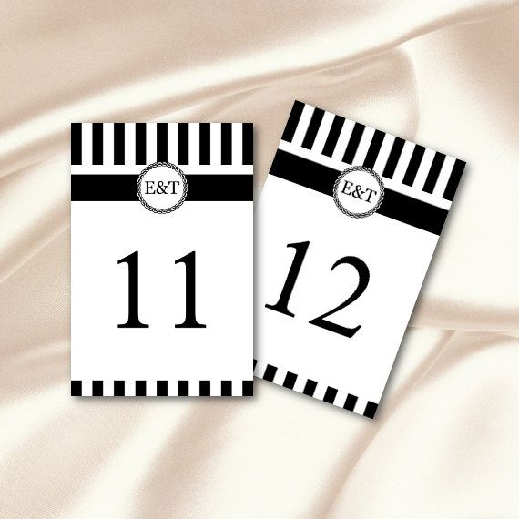 DIY striped black and white table numbers template comes as an - staples resume printing
