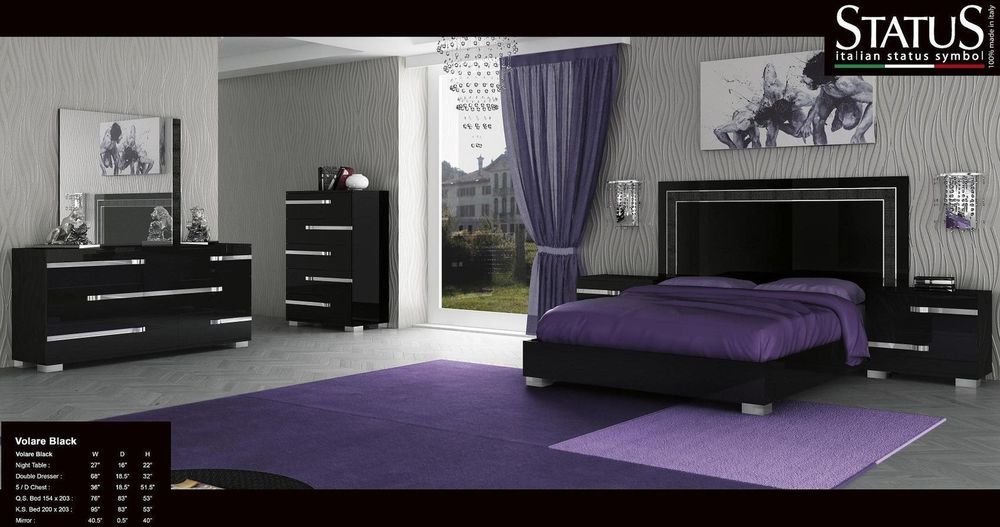 Volare - king size modern black bedroom set 5pc made in italy