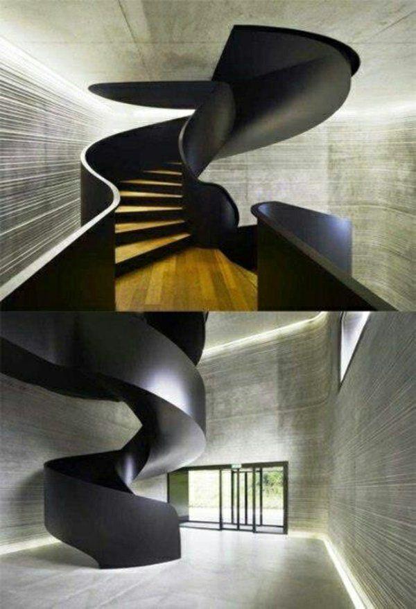 futuristische treppen gestaltungsideen wie geöffnetes rohr - holz treppe design atmos studio
