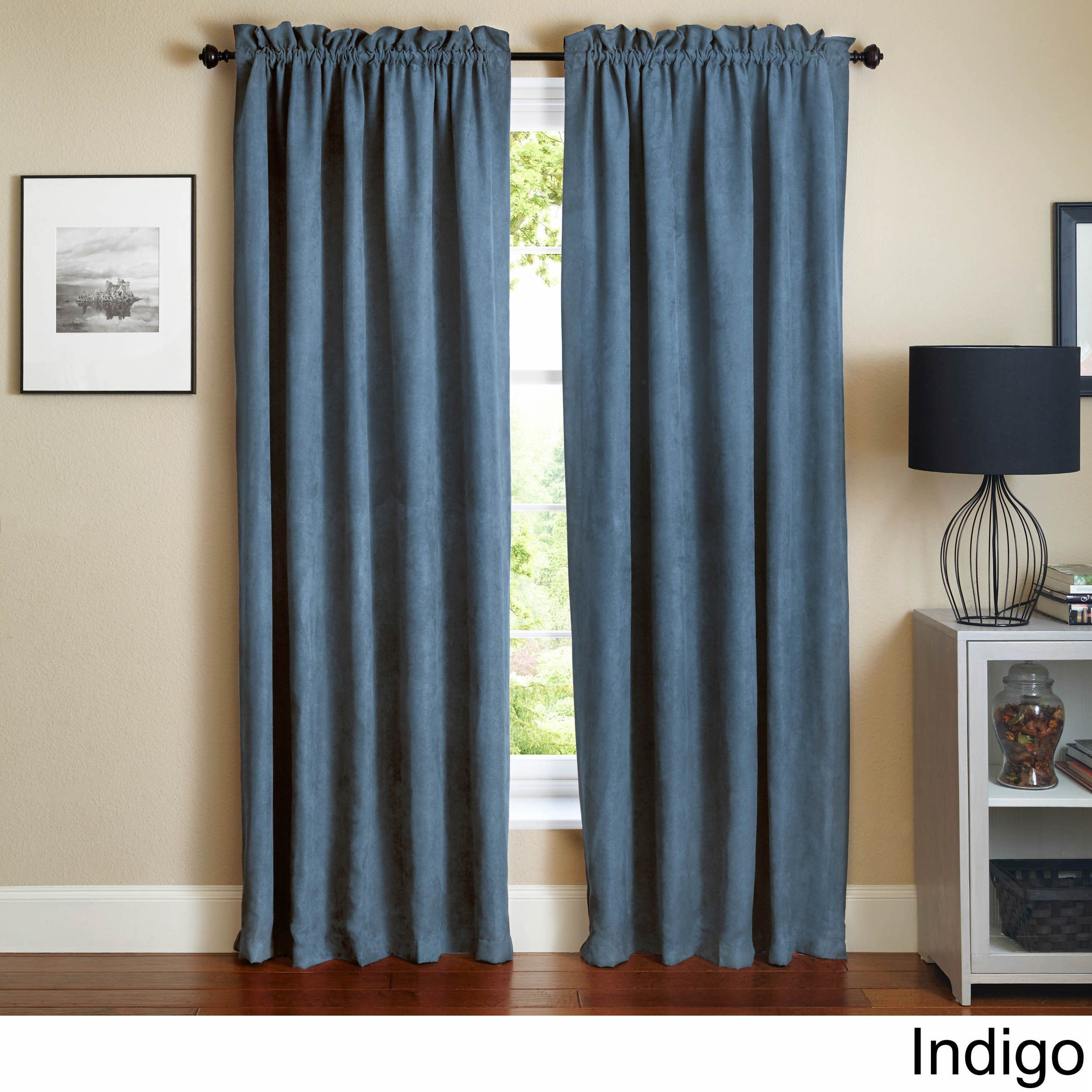 Blazing Needles 108 Inch Microsuede Blackout Curtain Panel Pair