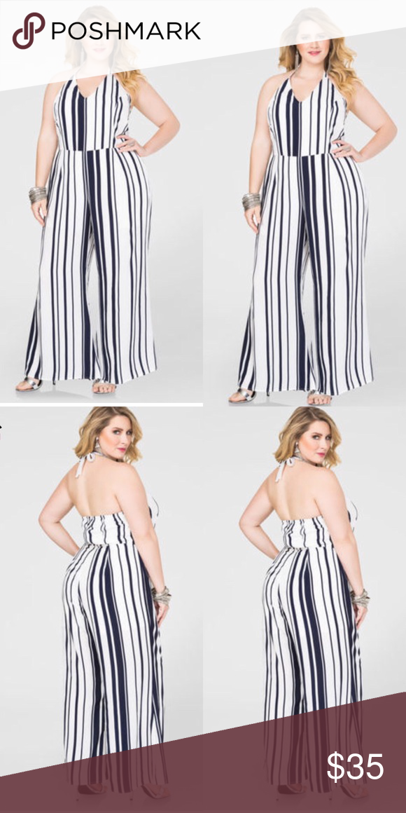 41a7ab793a01 Ashley Stewart HALTER STRIPED JUMPSUIT Sizzle in stripes in my plus size  halter jumpsuit! Wear