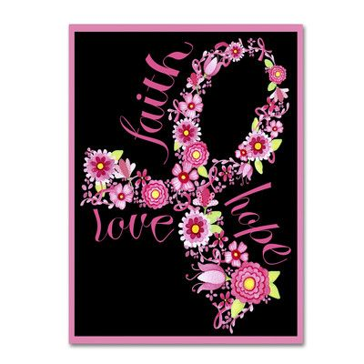 """Trademark Art 'Pink Ribbon Floral' by Jennifer Nilsson Graphic Art on Wrapped Canvas Size: 32"""" H x 24"""" W x 2"""" D"""