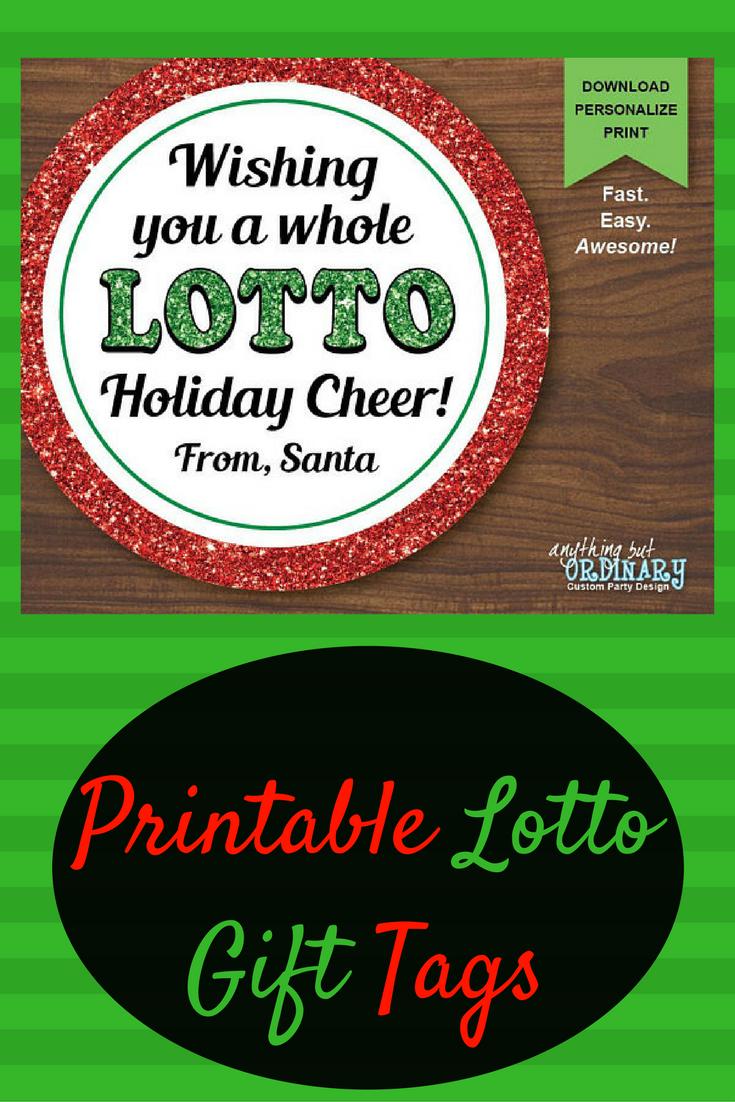 Lotto Holiday Cheer Gift Tags, Printable Christmas Lottery Favor