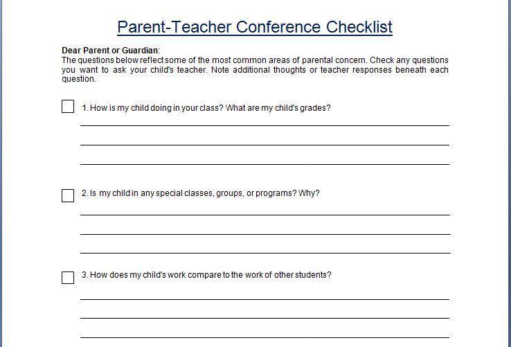 ParentTeacher Conference Concern Checklist Template  Classroom