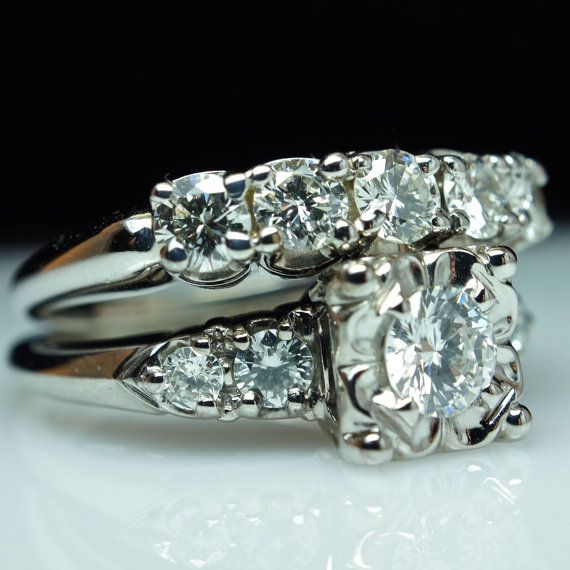 1940 S Vintage Diamond Engagement Ring Wedding Band Set 14k White Gold Size 6 2 Diamond Engagement Rings Vintage Cool Wedding Rings Antique Wedding Rings