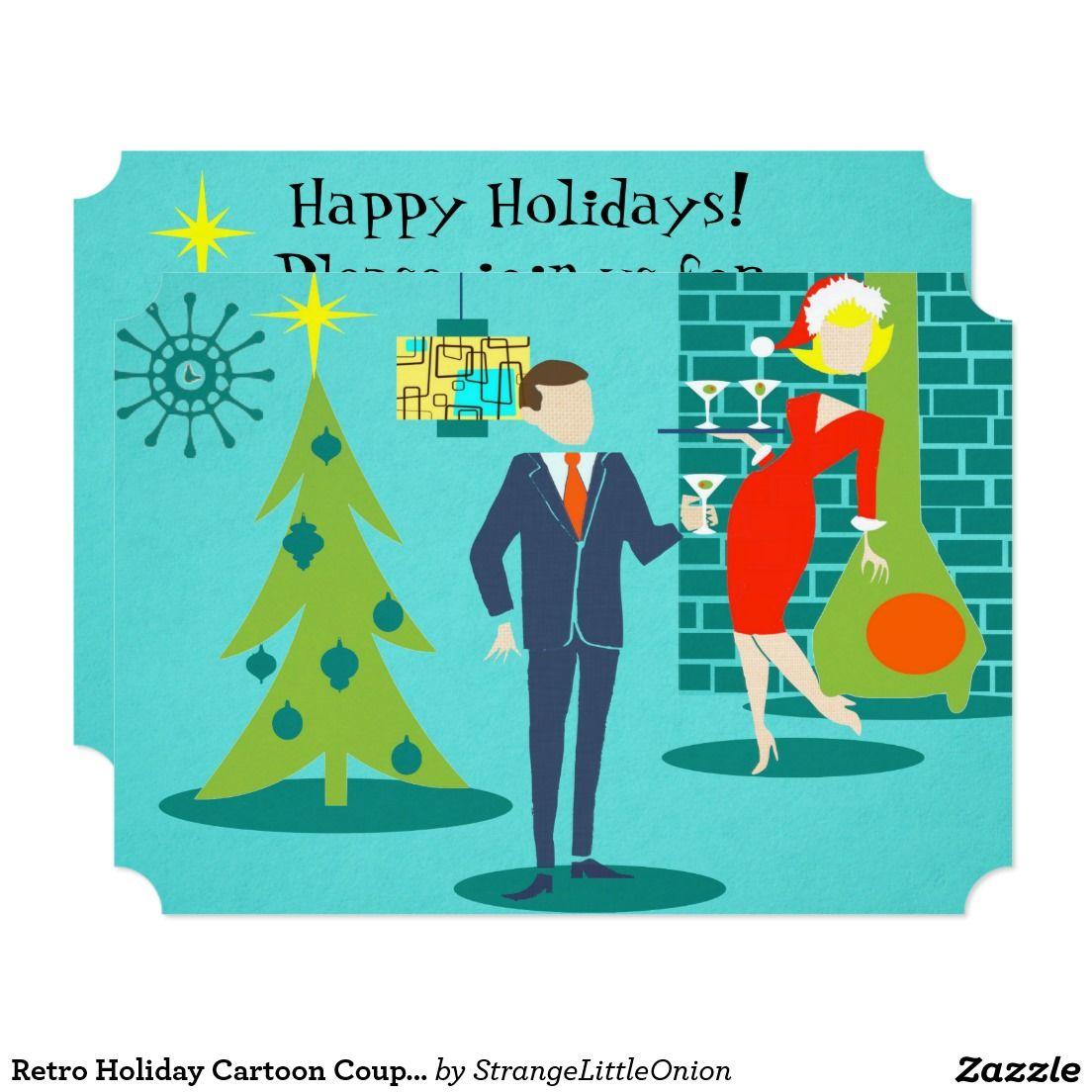 Retro Holiday Cartoon Couple Party Invitations | Party invitations ...