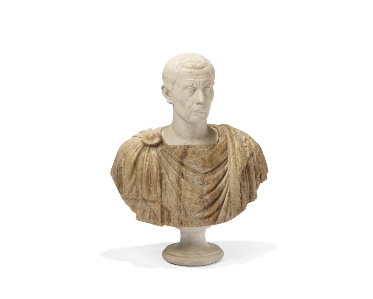 A Xix Century Marble Bust Of Julius Caesar Dressed With A Chlamyde In Sienna Marble On A Typical Base H 75 Cm Marble Bust Sculpture Art