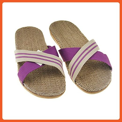 Unisexe Lady Men Summer Open Toe chaussures plates Unisexe Anti-Slip Linen