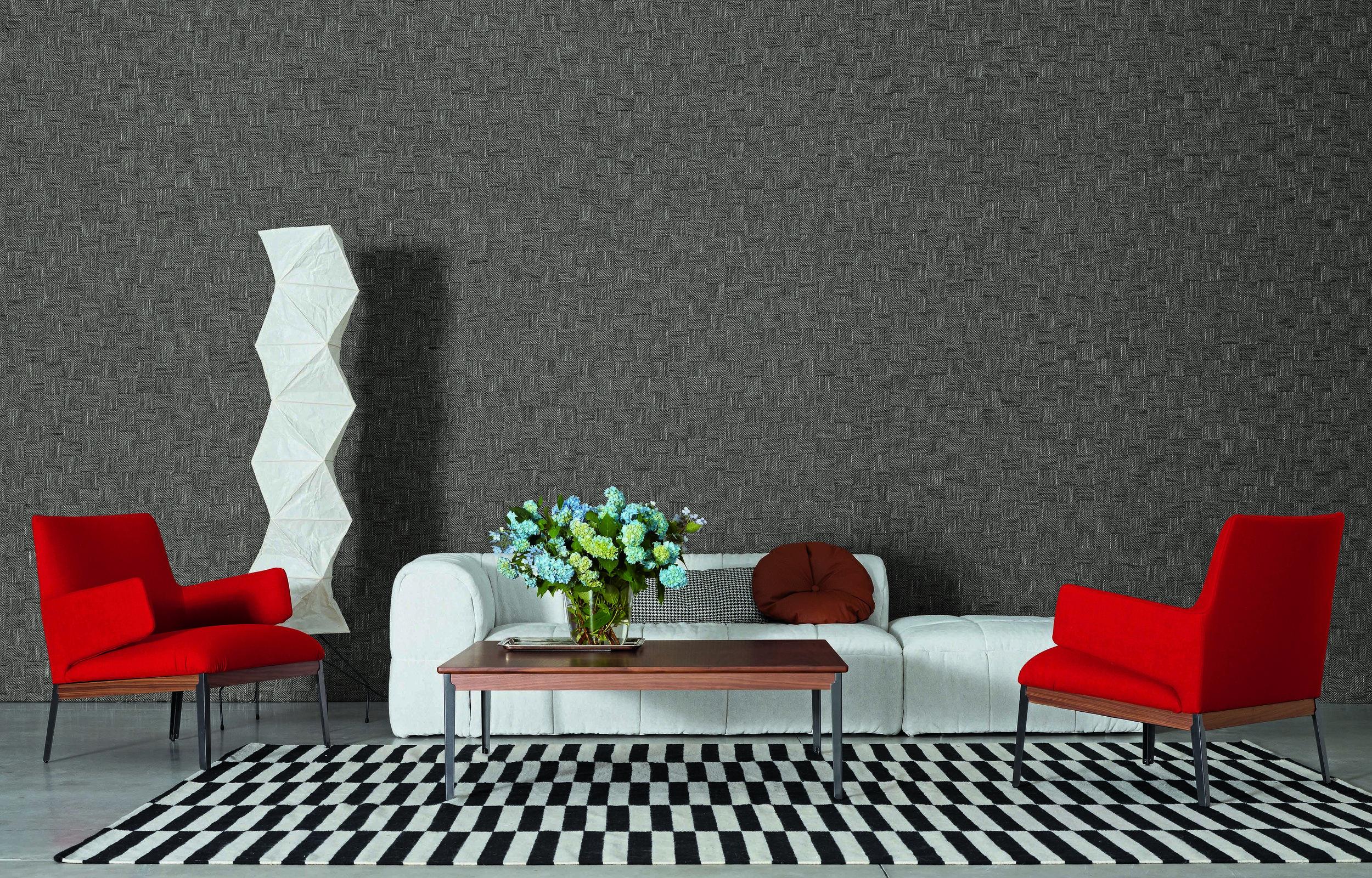 Hug Chair and Hug Table from Arflex Strips Sofa from Arflex