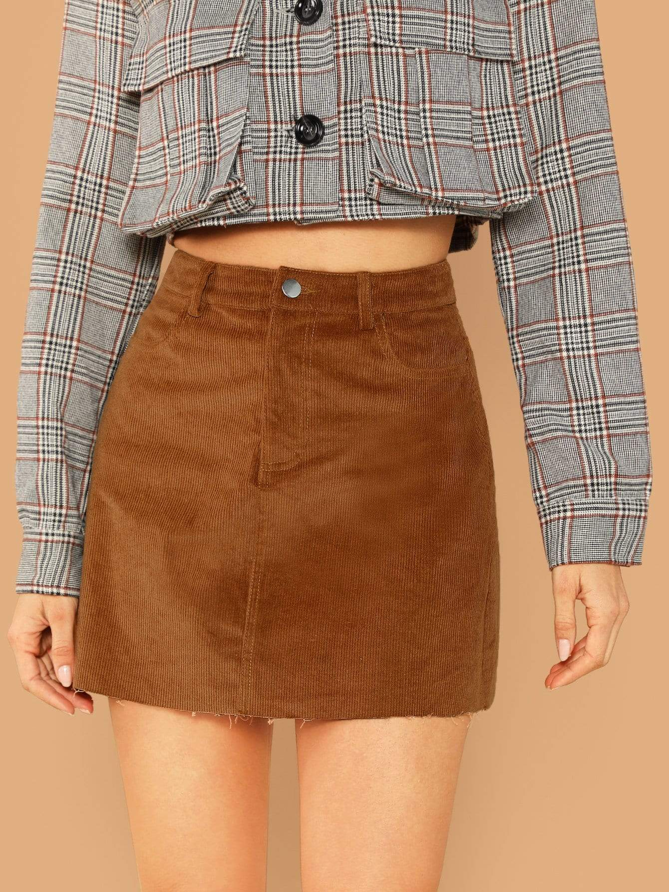 6184ae6d1be3 pocket patched raw hem cord skirt. #skirts #bottoms #women #fashion. Visit.  February 2019