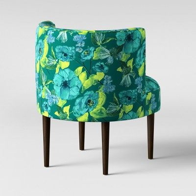 Best Clary Curved Back Accent Chair Green Teal Floral 400 x 300