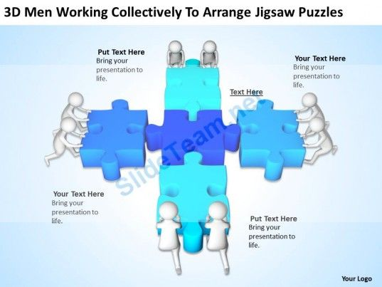 3d Men Working Collectively To Arrange Jigsaw Puzzles Ppt Graphics