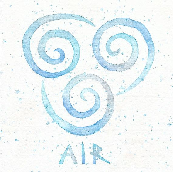 Air Nomad Symbol 10x10 Watercolor Painting Print Aang