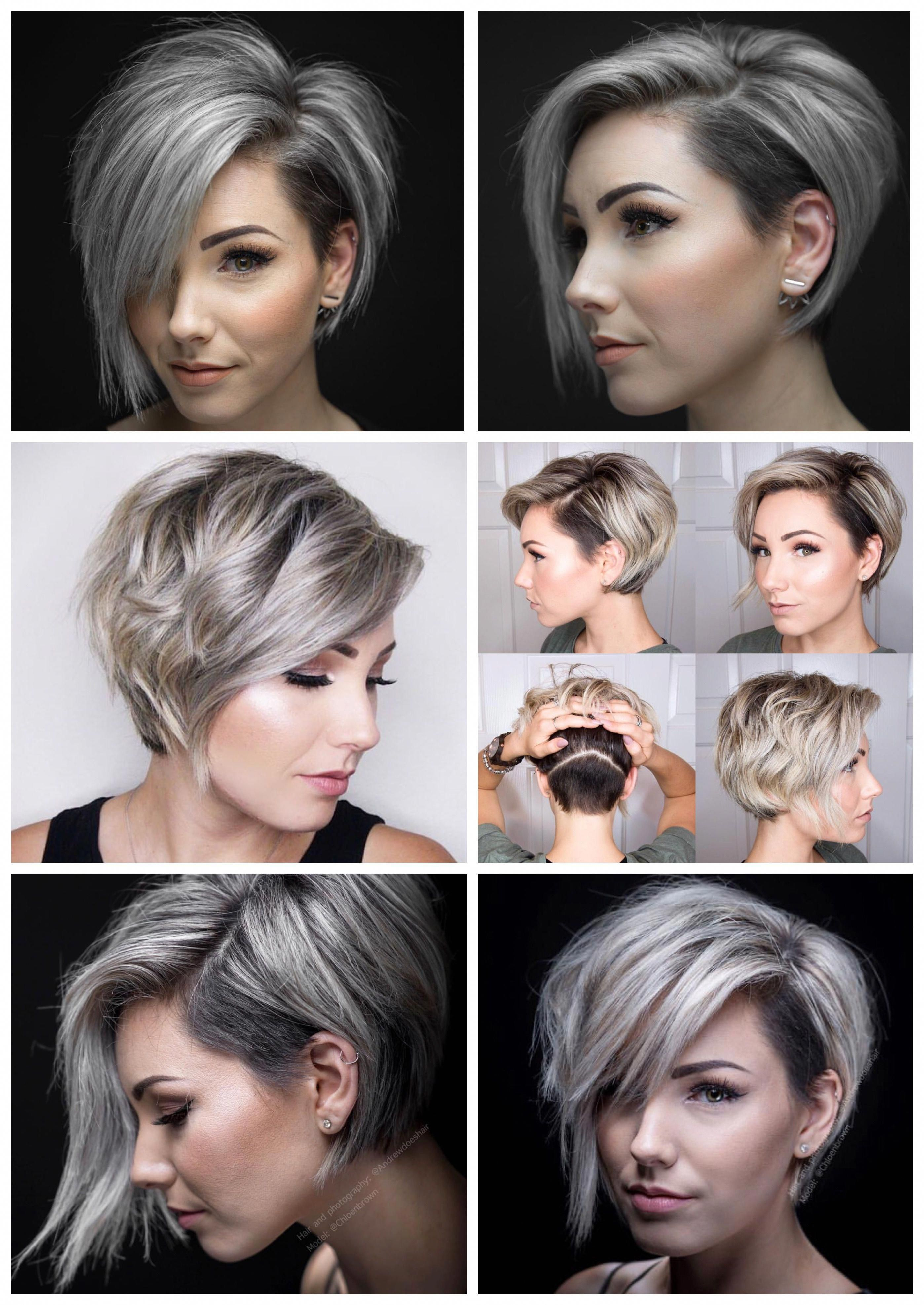 Asymmetrical Short With Undercut Young Salts Medium Silver Withbangs Natural Shorthairbobpixie Bob Hairstyles Hair Styles Thick Hair Styles