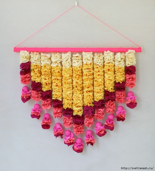Floral tapestry of corrugated paper   Tapestry, Crepe paper crafts ...