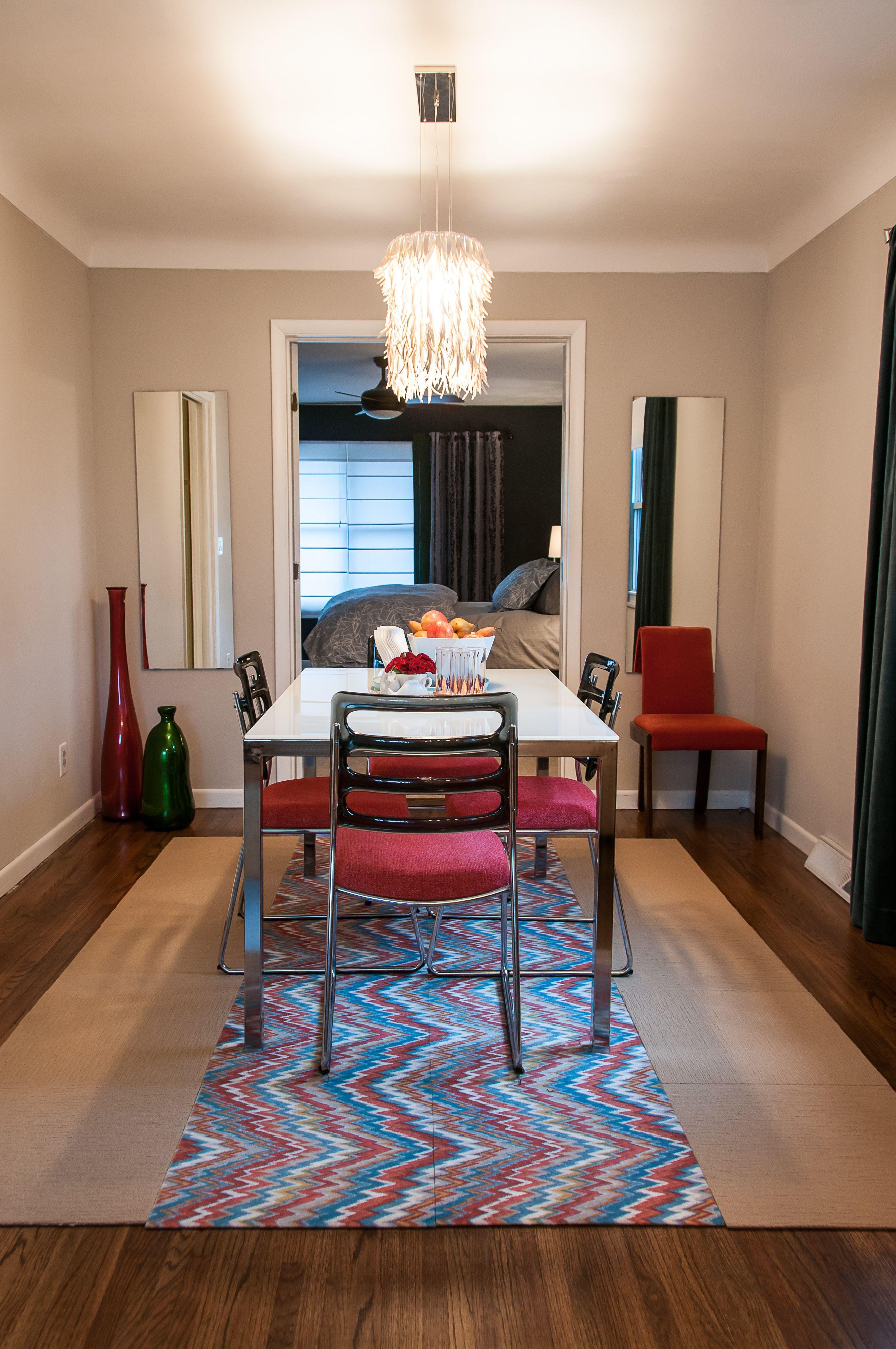 Dining Room Design/flame Stitch Flor Tiles/ Vintage Lucite