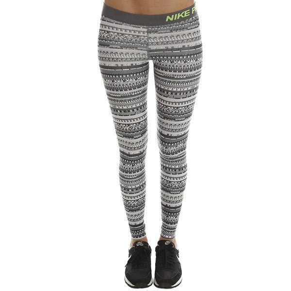 12701bc8b131b Nike Pro Dry Fit Leggings ($55) ❤ liked on Polyvore featuring pants,  leggings, bestsellers, women, white leggings, nike pants, print pants, dri  fit pants ...