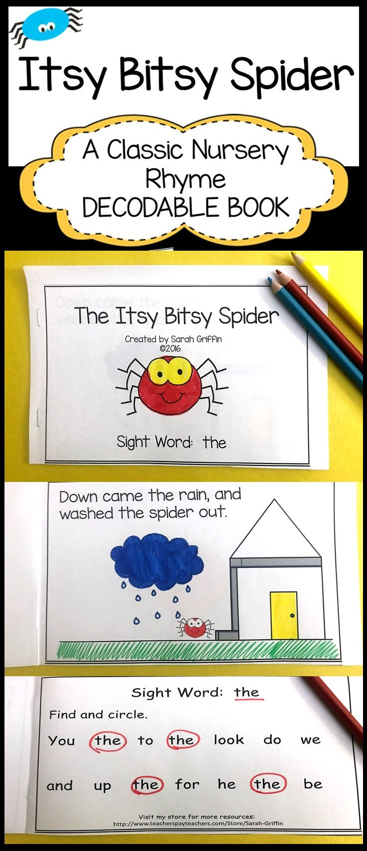 picture regarding Printable Decodable Books for First Grade known as Sight Phrase Reader - Itsy Bitsy Spider - BW Kindergarten