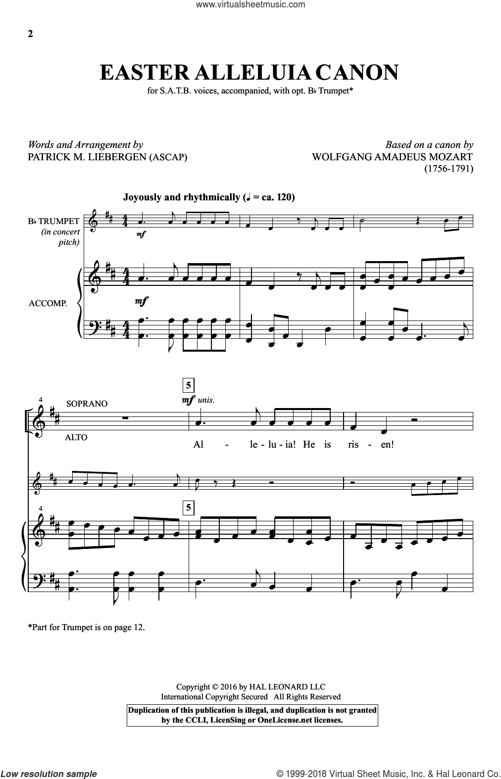 Mozart - Easter Alleluia Canon sheet music for choir [PDF