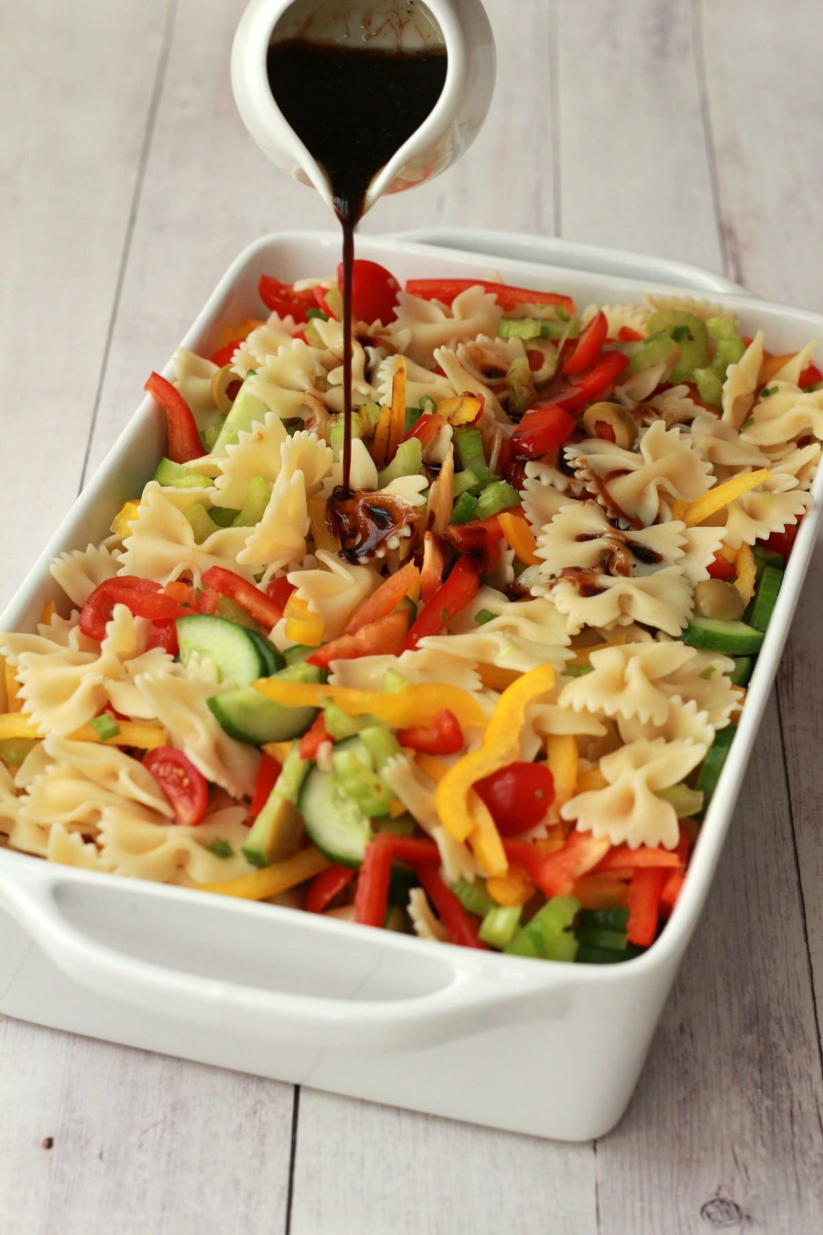 Vibrantly colorful vegan pasta salad, ready in 15 minutes