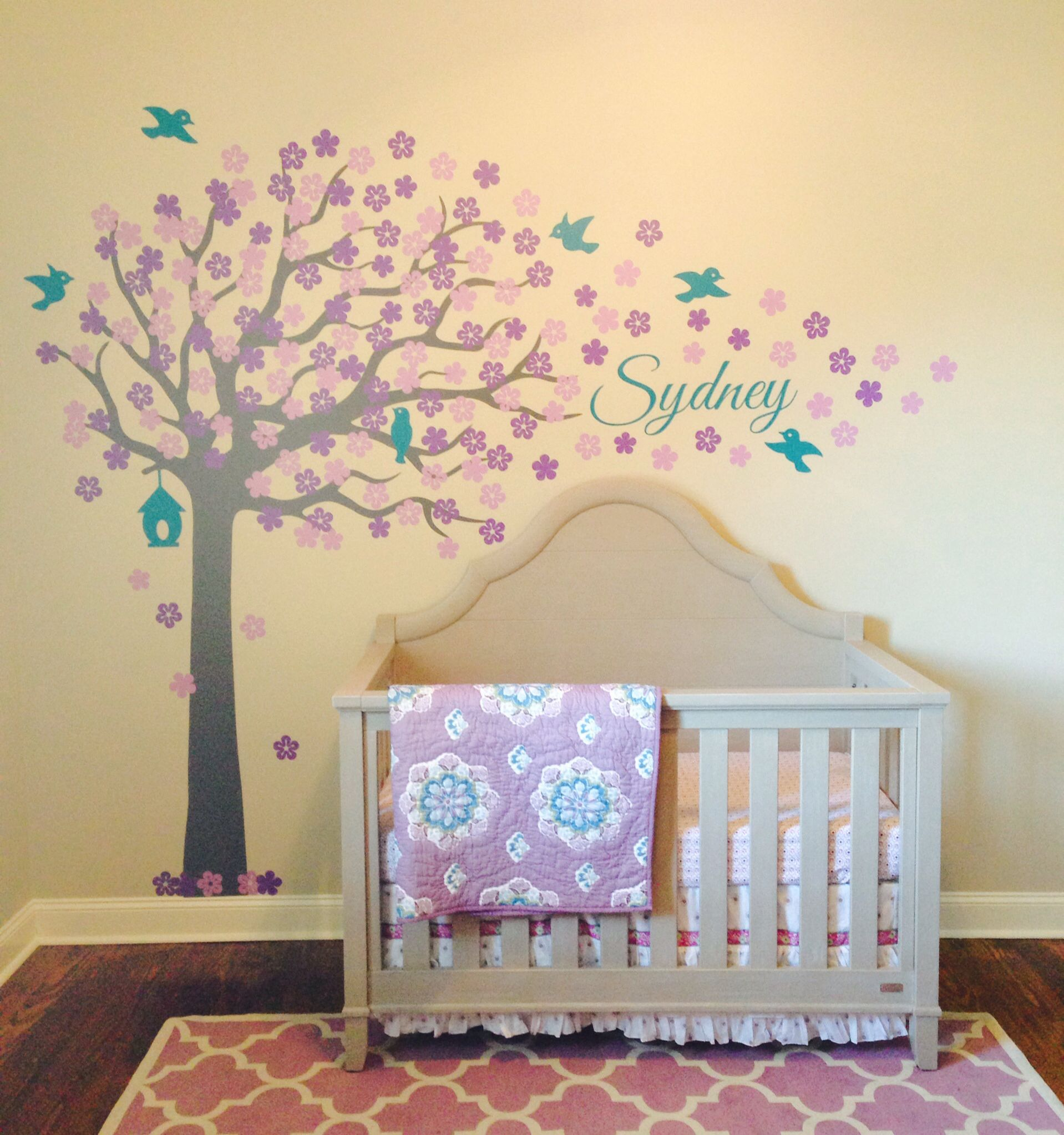 My purple & teal nursery is 1/2 way complete. I love my custom tree ...