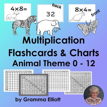 Multiplication Flash Cards Animal Theme 0 to 12 | Elementary Math ...