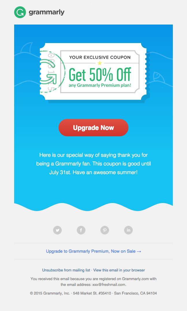 Grammarly Newsletter Ideas Example #email #emailmarketing