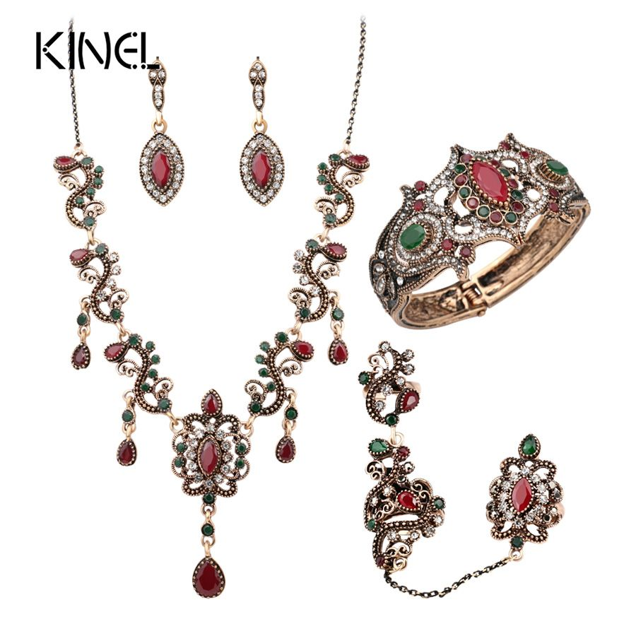 Pcs turkey jewelry sets vintage look red necklace earrings set