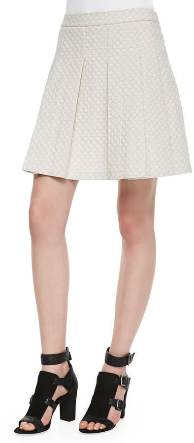 Derek Lam 10 Crosby Quilted-Jersey Pleated Skirt on shopstyle.com
