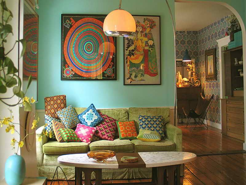 living room wall paint colors%0A Colorful Vintage Living Room Ideas