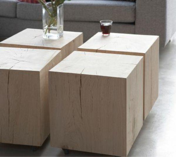 Massivholzmöbel Wohnzimmer Couchtisch Holz Baumblöcke